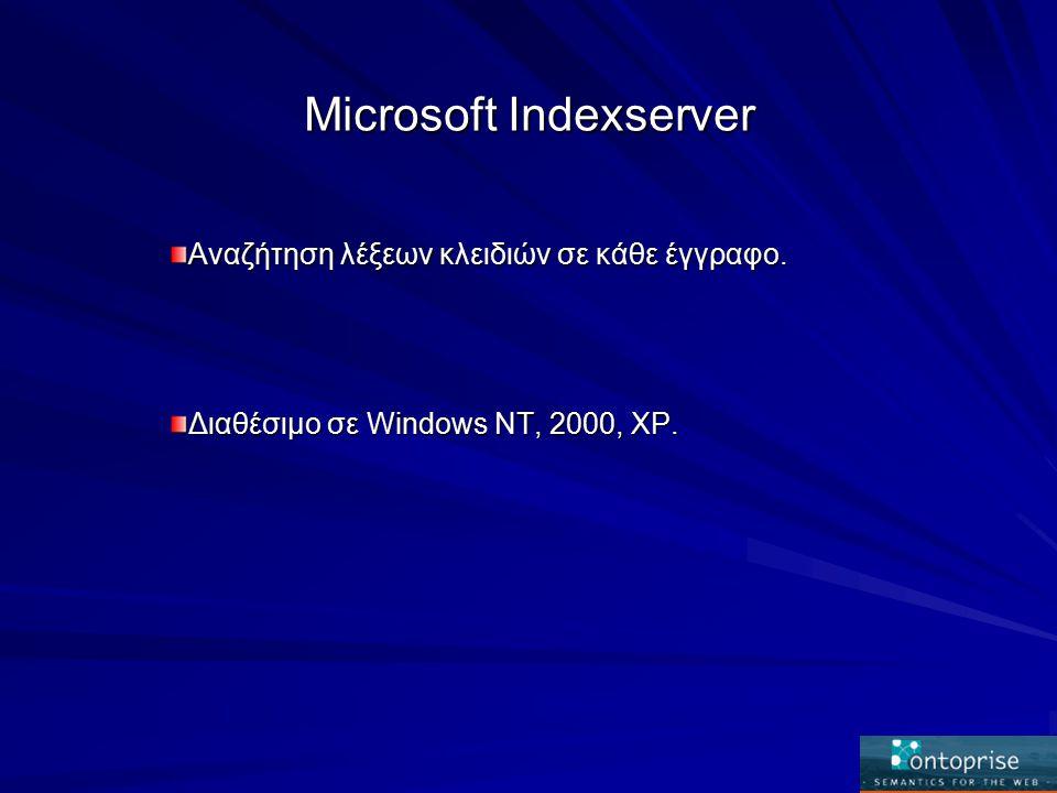 Microsoft Indexserver Αναζήτηση λέξεων κλειδιών σε κάθε έγγραφο. Διαθέσιμο σε Windows NT, 2000, XP.