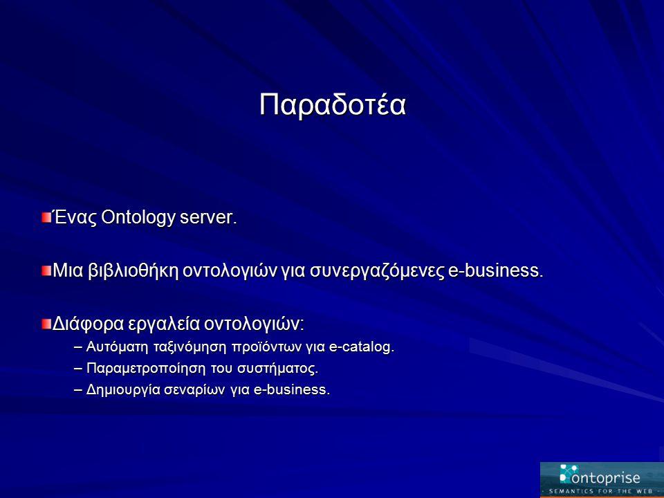 Παραδοτέα Ένας Ontology server. Μια βιβλιοθήκη οντολογιών για συνεργαζόμενες e-business.