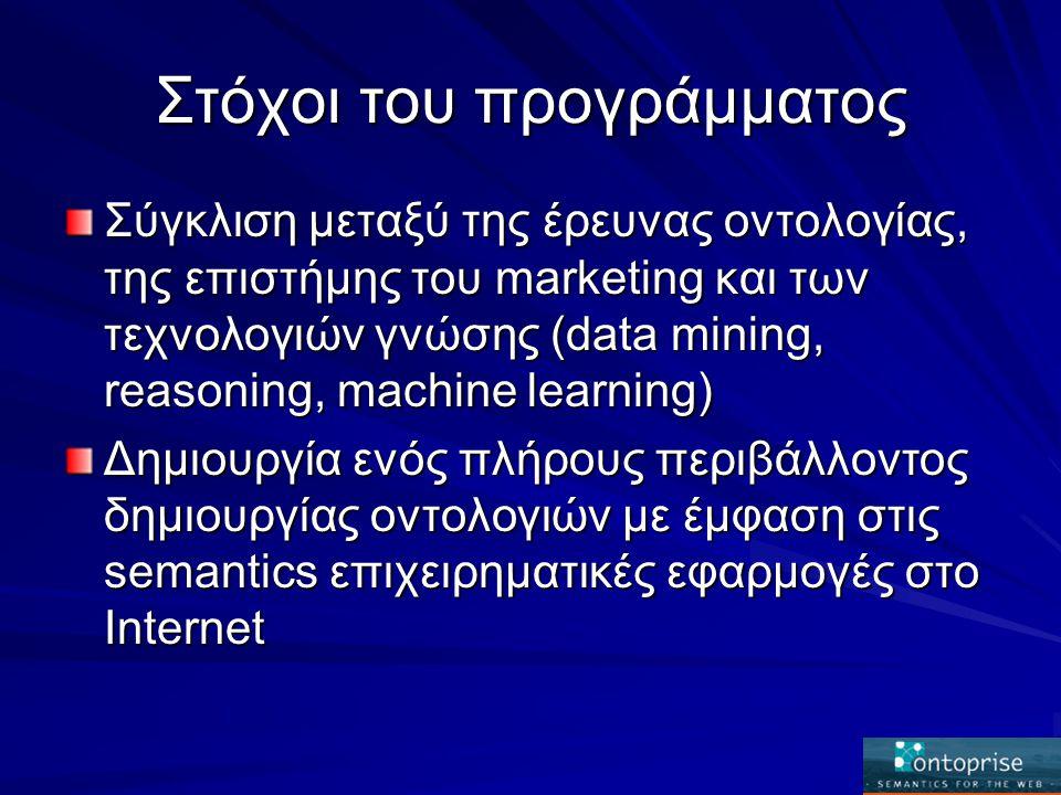 Στόχοι του προγράμματος Σύγκλιση μεταξύ της έρευνας οντολογίας, της επιστήμης του marketing και των τεχνολογιών γνώσης (data mining, reasoning, machine learning) Δημιουργία ενός πλήρους περιβάλλοντος δημιουργίας οντολογιών με έμφαση στις semantics επιχειρηματικές εφαρμογές στο Internet