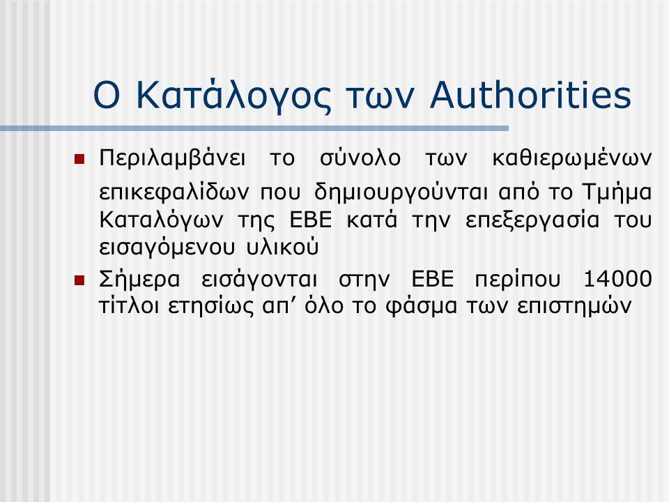 Ο Κατάλογος των Authorities Περιλαμβάνει το σύνολο των καθιερωμένων επικεφαλίδων που δημιουργούνται από το Τμήμα Καταλόγων της ΕΒΕ κατά την επεξεργασί