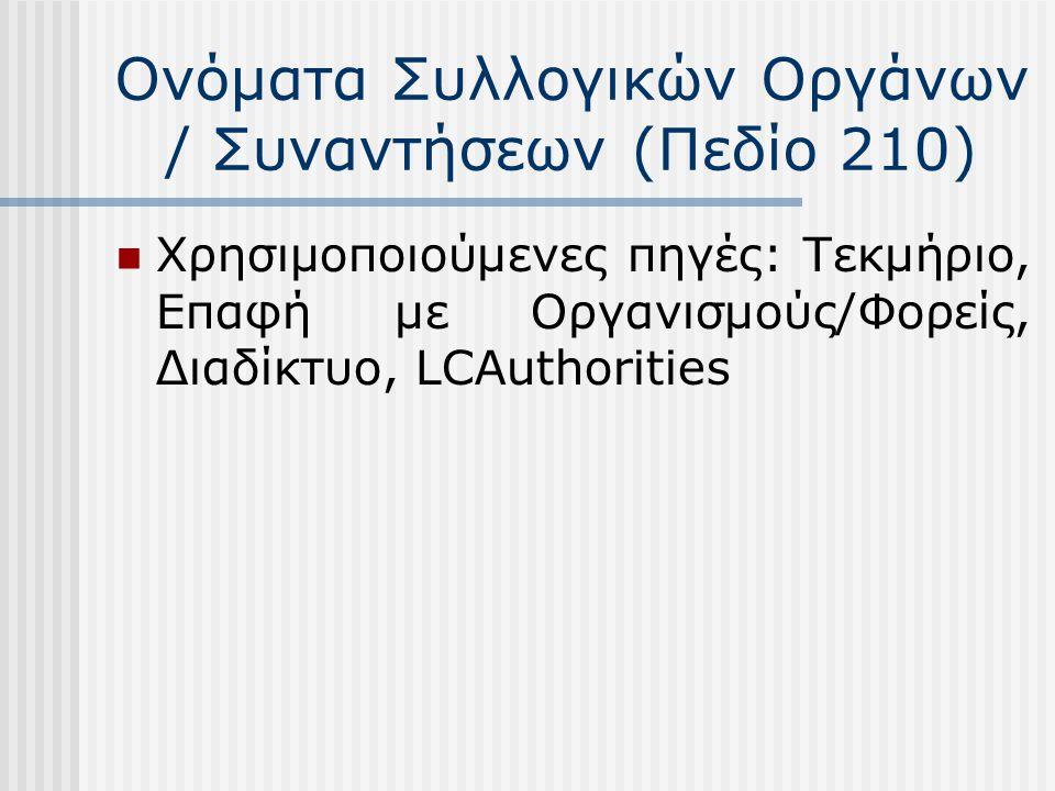 Γεωγραφικά ονόματα (Πεδίο 215) Επιλέγεται η ευρύτερα γνωστή και χρησιμοποιούμενη μορφή των γεωγραφικών τόπων Χρήση διευκρινιστικής παρένθεσης:  Σε μη μοναδικά ή μη ευρέως γνωστά γεωγραφικά ονόματα, π.χ.: Αρνίθα (Ρόδος) – Κοινωνική ζωή και έθιμα  Στα γεωγραφικά ονόματα εκτός του ελληνικού χώρου, π.χ.: Ρώμη (Ιταλία)  Στους νομούς, π.χ.: Λάρισα (Νομός) – Ιστορία  Στα ονόματα των νησιών, π.χ.: Τήνος (Κυκλάδες) – Αρχαιότητες Στην περίπτωση των γεωγραφικών υποδιαιρέσεων ακολουθείται η «ιεραρχική» δόμηση του όρου Π.χ.: Εκκλησιαστική αρχιτεκτονική – Ελλάς – Κυκλάδες (Νομός) – Πάρος Χρησιμοποιούμενες πηγές: Εγκυκλοπαίδειες, Γεωγραφικά λεξικά, Διαδίκτυο