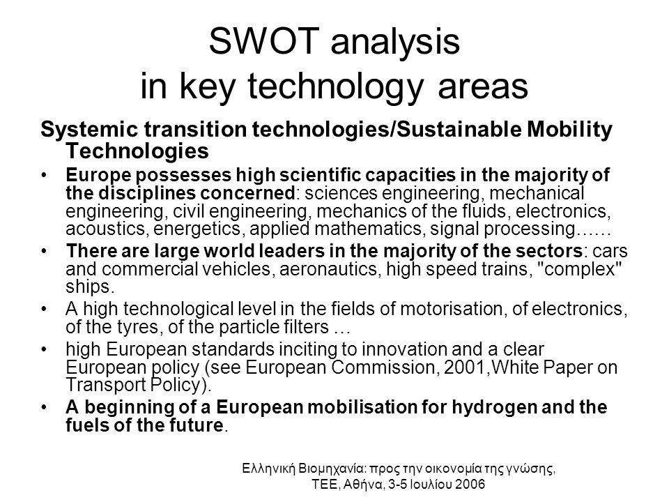 Ελληνική Βιομηχανία: προς την οικονομία της γνώσης, ΤΕΕ, Αθήνα, 3-5 Ιουλίου 2006 SWOT analysis in key technology areas Systemic transition technologie