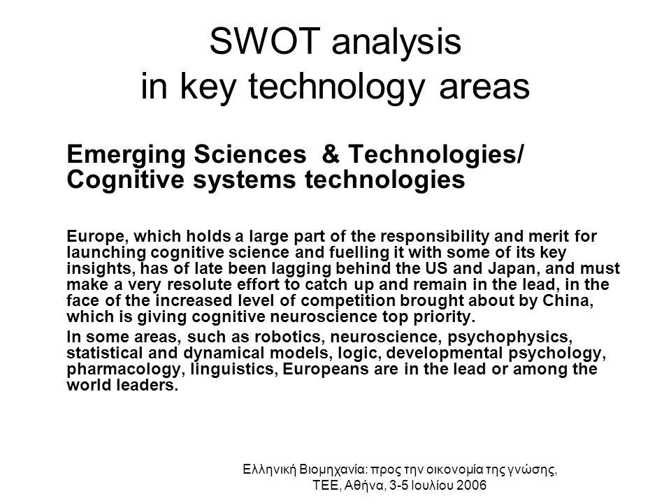 Ελληνική Βιομηχανία: προς την οικονομία της γνώσης, ΤΕΕ, Αθήνα, 3-5 Ιουλίου 2006 SWOT analysis in key technology areas Emerging Sciences & Technologie