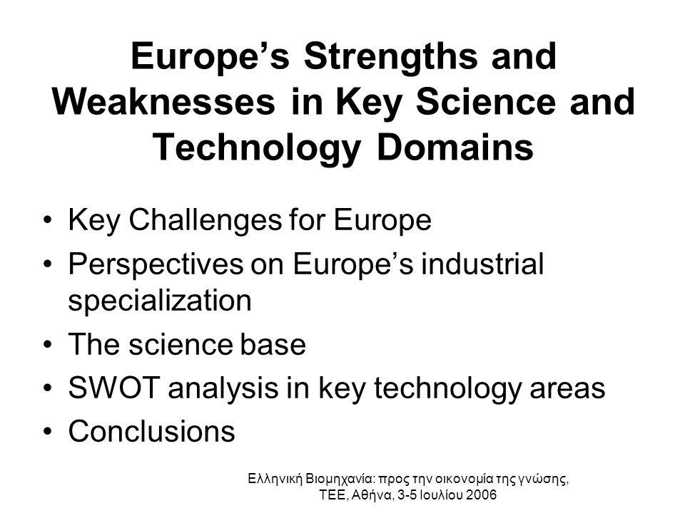 Ελληνική Βιομηχανία: προς την οικονομία της γνώσης, ΤΕΕ, Αθήνα, 3-5 Ιουλίου 2006 Key Challenges for Europe « Chindia » The next technology wave Global inequalities Economic Scenarios Environment/Energy Demography Future of Manufacturing Institutional Scenarios