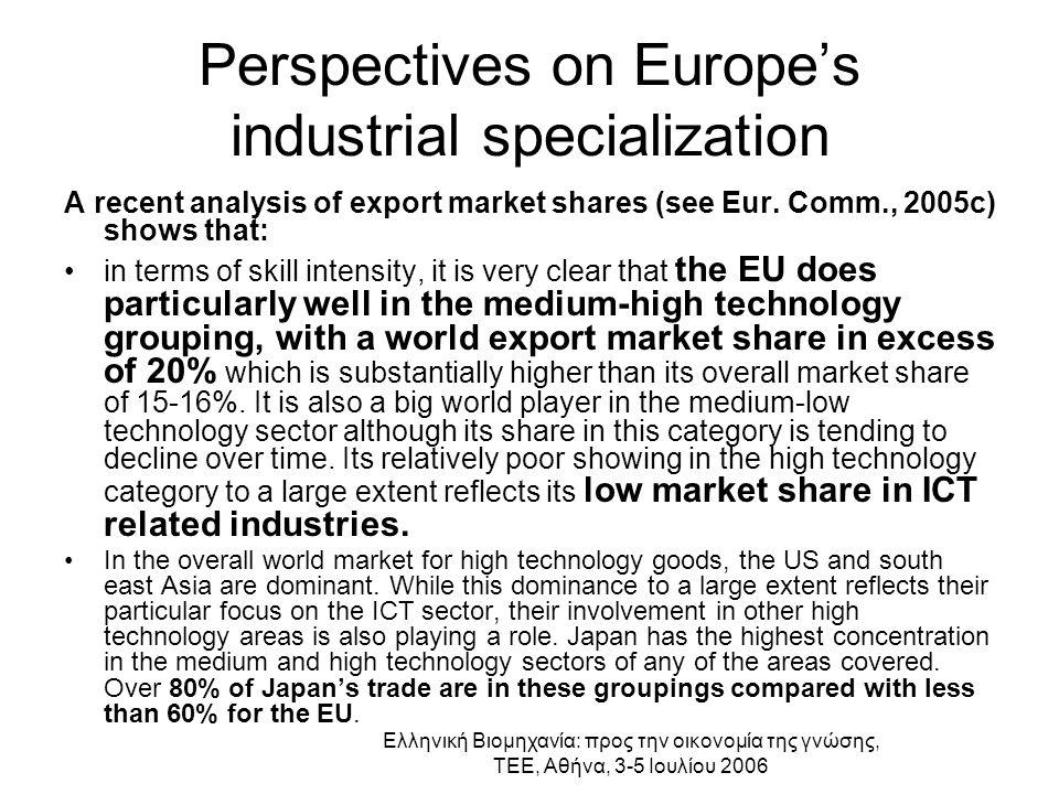 Ελληνική Βιομηχανία: προς την οικονομία της γνώσης, ΤΕΕ, Αθήνα, 3-5 Ιουλίου 2006 Perspectives on Europe's industrial specialization (2)