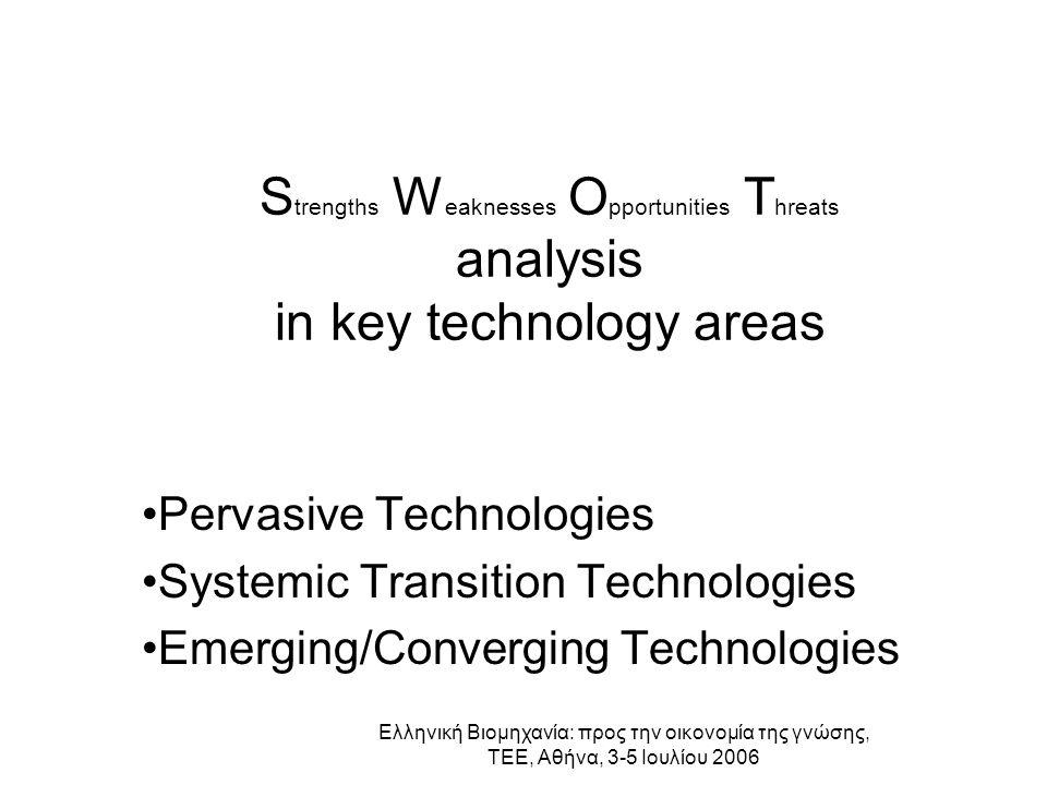 Ελληνική Βιομηχανία: προς την οικονομία της γνώσης, ΤΕΕ, Αθήνα, 3-5 Ιουλίου 2006 S trengths W eaknesses O pportunities T hreats analysis in key techno