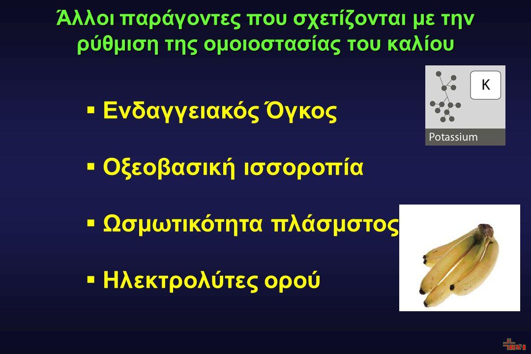 Άλλοι παράγοντες που σχετίζονται με την ρύθμιση της ομοιοστασίας του καλίου  Ενδαγγειακός Όγκος  Οξεοβασική ισσοροπία  Ωσμωτικότητα πλάσμστος  Ηλεκτρολύτες ορού