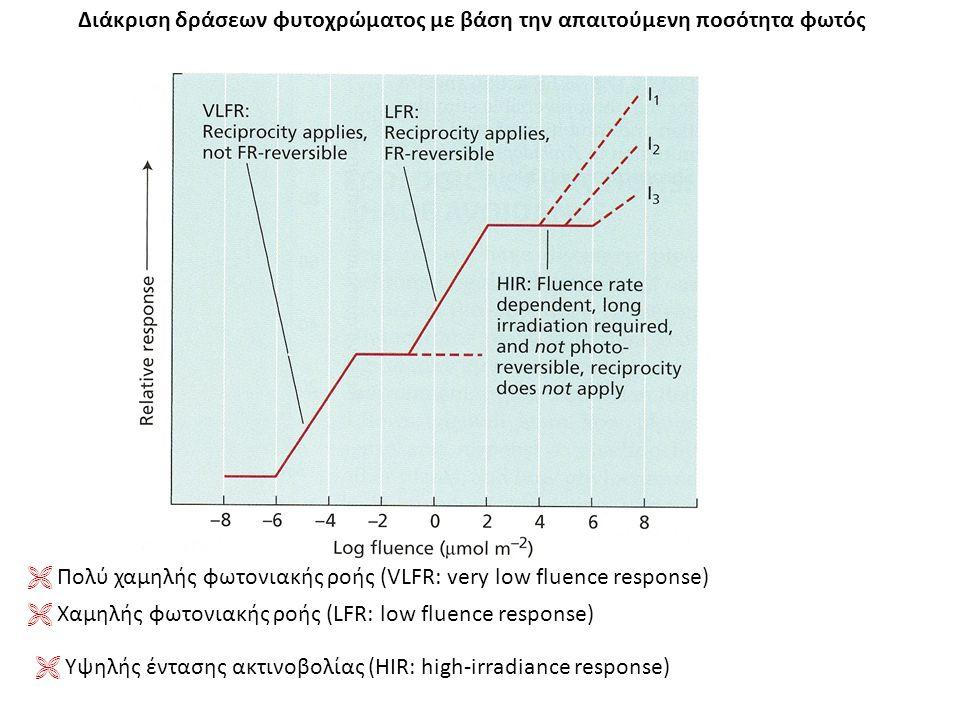 Διάκριση δράσεων φυτοχρώματος με βάση την απαιτούμενη ποσότητα φωτός  Πολύ χαμηλής φωτονιακής ροής (VLFR: very low fluence response)  Xαμηλής φωτονι