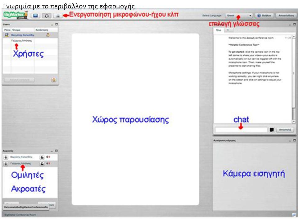 Επικοινωνία - Αλληλεπίδραση Εικόνα (χρήση κάμερας) Ήχος (χρήση μικροφώνου, ηχείων) Chat (γραπτή συζήτηση)