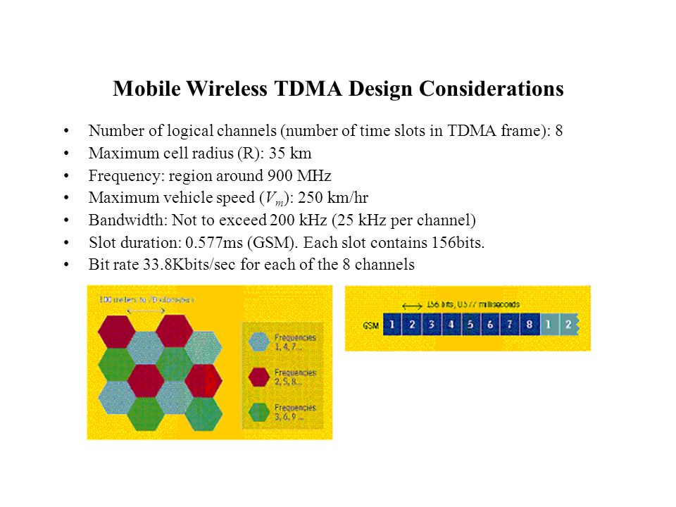 Mobile Wireless TDMA Design Considerations Number of logical channels (number of time slots in TDMA frame): 8 Maximum cell radius (R): 35 km Frequency: region around 900 MHz Maximum vehicle speed (V m ): 250 km/hr Bandwidth: Not to exceed 200 kHz (25 kHz per channel) Slot duration: 0.577ms (GSM).