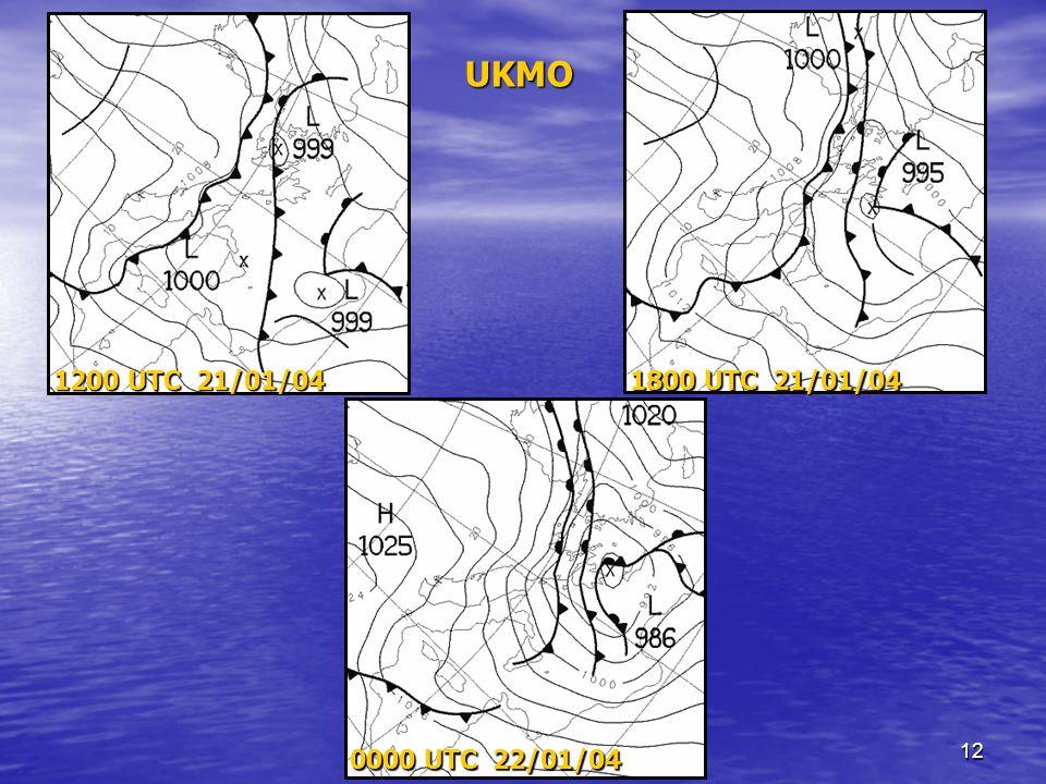 12 1200 UTC 21/01/04 1800 UTC 21/01/04 0000 UTC 22/01/04 UKMO