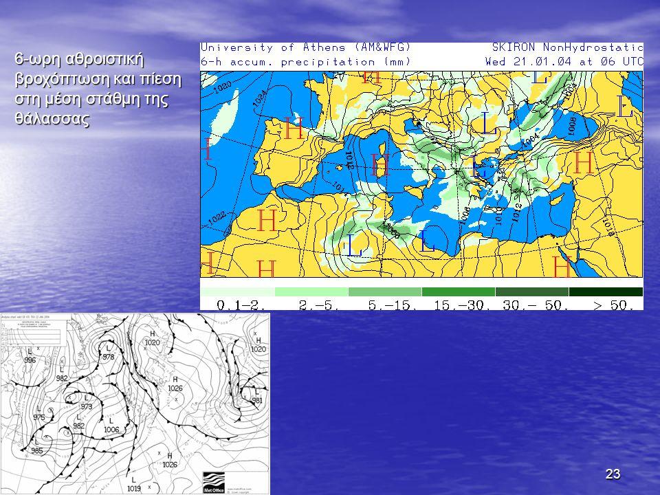 23 6-ωρη αθροιστική βροχόπτωση και πίεση στη μέση στάθμη της θάλασσας