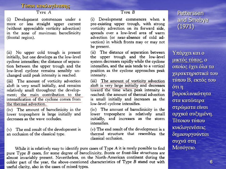 6 Petterssen and Smebye (1971) Υπάρχει και ο μικτός τύπος, ο οποίος έχει όλα τα χαρακτηριστικά του τύπου Β, εκτός του ότι η βαροκλινικότητα στα κατώτερα στρώματα είναι αρχικά αυξημένη.