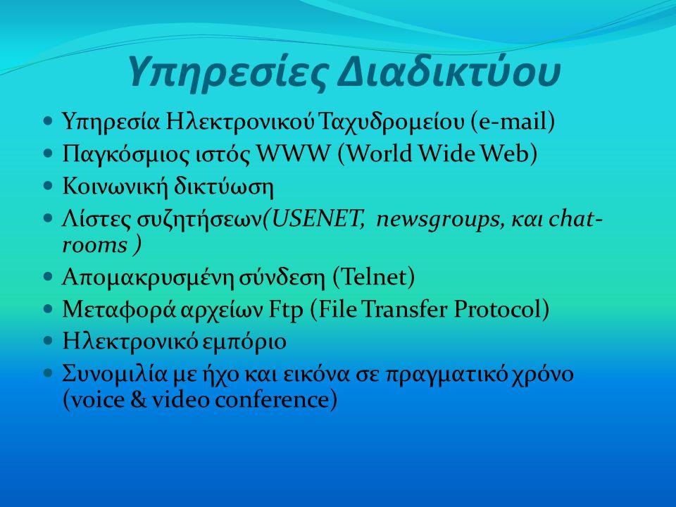 Υπηρεσίες Διαδικτύου Υπηρεσία Ηλεκτρονικού Ταχυδρομείου (e-mail) Παγκόσμιος ιστός WWW (World Wide Web) Κοινωνική δικτύωση Λίστες συζητήσεων(USENET, ne