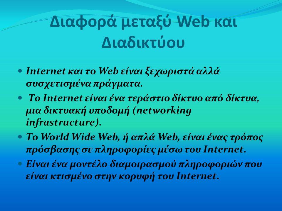 Διαφορά μεταξύ Web και Διαδικτύου Internet και το Web είναι ξεχωριστά αλλά συσχετισμένα πράγματα. Το Internet είναι ένα τεράστιο δίκτυο από δίκτυα, μι