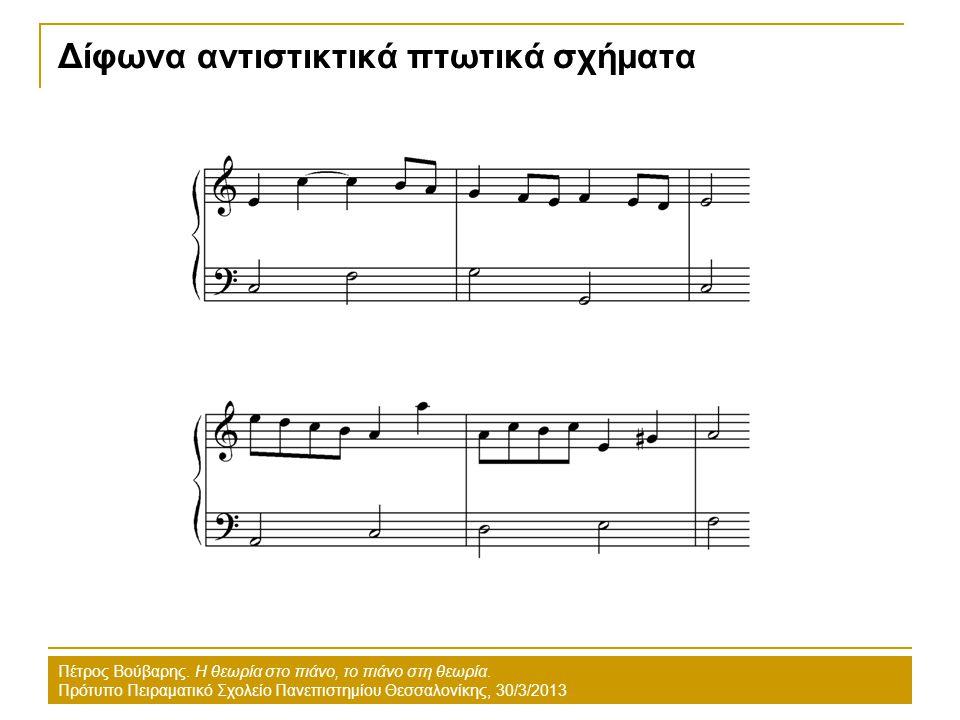 Δίφωνα αντιστικτικά πτωτικά σχήματα Πέτρος Βούβαρης. Η θεωρία στο πιάνο, το πιάνο στη θεωρία. Πρότυπο Πειραματικό Σχολείο Πανεπιστημίου Θεσσαλονίκης,
