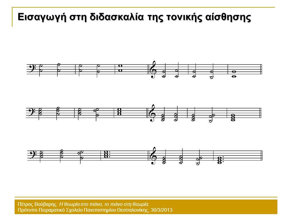 Εισαγωγή στη διδασκαλία της τονικής αίσθησης Πέτρος Βούβαρης. Η θεωρία στο πιάνο, το πιάνο στη θεωρία. Πρότυπο Πειραματικό Σχολείο Πανεπιστημίου Θεσσα