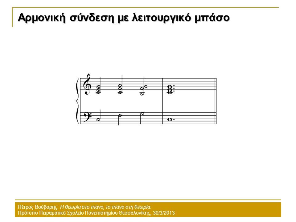 Αρμονική σύνδεση με λειτουργικό μπάσο Πέτρος Βούβαρης. Η θεωρία στο πιάνο, το πιάνο στη θεωρία. Πρότυπο Πειραματικό Σχολείο Πανεπιστημίου Θεσσαλονίκης