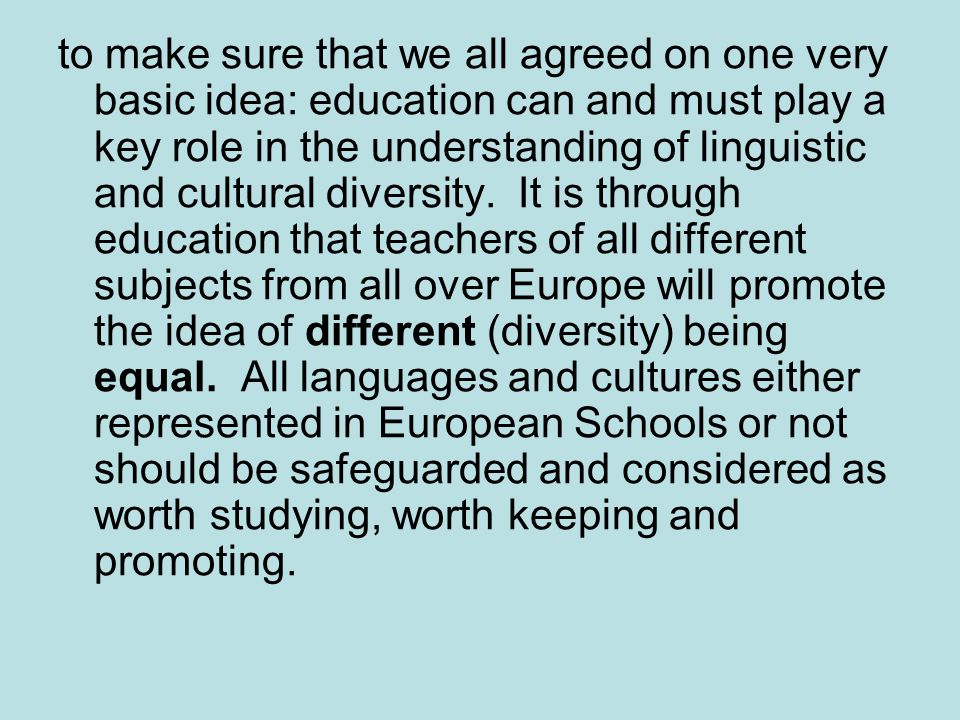 to make sure that we all agreed on one very basic idea: education can and must play a key role in the understanding of linguistic and cultural diversity.