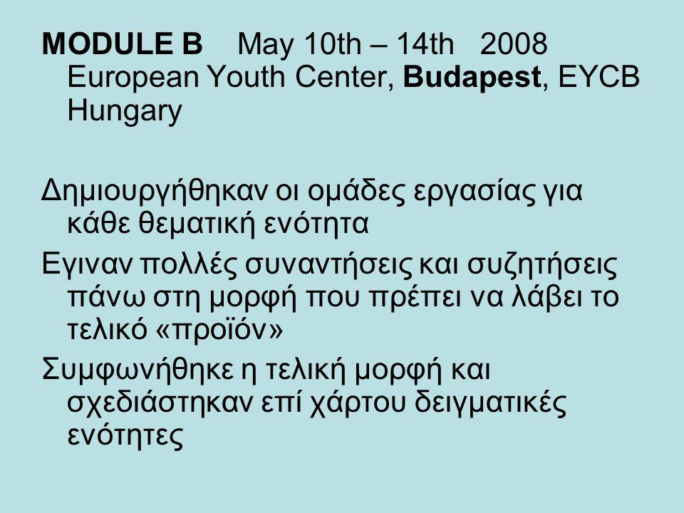 MODULE B May 10th – 14th 2008 European Youth Center, Budapest, EYCB Hungary Δημιουργήθηκαν οι ομάδες εργασίας για κάθε θεματική ενότητα Εγιναν πολλές συναντήσεις και συζητήσεις πάνω στη μορφή που πρέπει να λάβει το τελικό «προϊόν» Συμφωνήθηκε η τελική μορφή και σχεδιάστηκαν επί χάρτου δειγματικές ενότητες