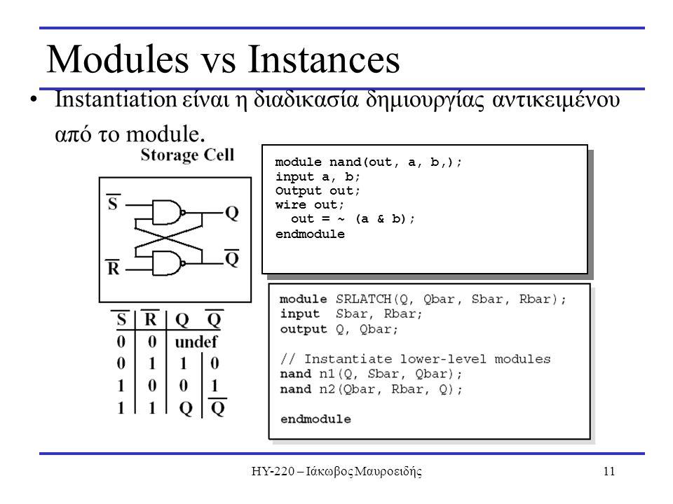 ΗΥ-220 – Ιάκωβος Μαυροειδής11 Modules vs Instances Instantiation είναι η διαδικασία δημιουργίας αντικειμένου από το module. module nand(out, a, b,); i