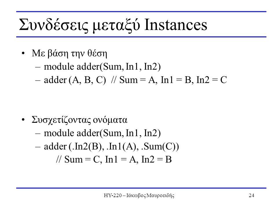 ΗΥ-220 – Ιάκωβος Μαυροειδής24 Συνδέσεις μεταξύ Instances Με βάση την θέση –module adder(Sum, In1, In2) –adder (A, B, C) // Sum = A, In1 = B, In2 = C Σ