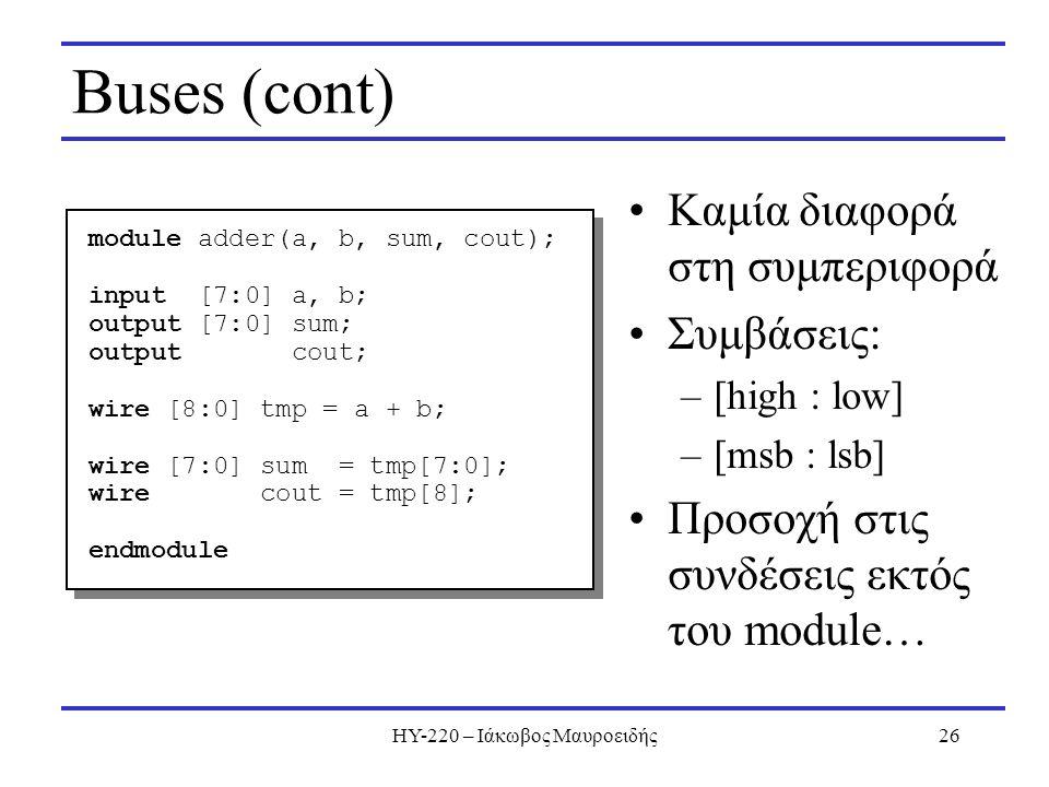 ΗΥ-220 – Ιάκωβος Μαυροειδής26 Buses (cont) Καμία διαφορά στη συμπεριφορά Συμβάσεις: –[high : low] –[msb : lsb] Προσοχή στις συνδέσεις εκτός του module