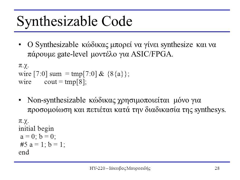 ΗΥ-220 – Ιάκωβος Μαυροειδής28 Synthesizable Code Ο Synthesizable κώδικας μπορεί να γίνει synthesize και να πάρουμε gate-level μοντέλο για ASIC/FPGA. π