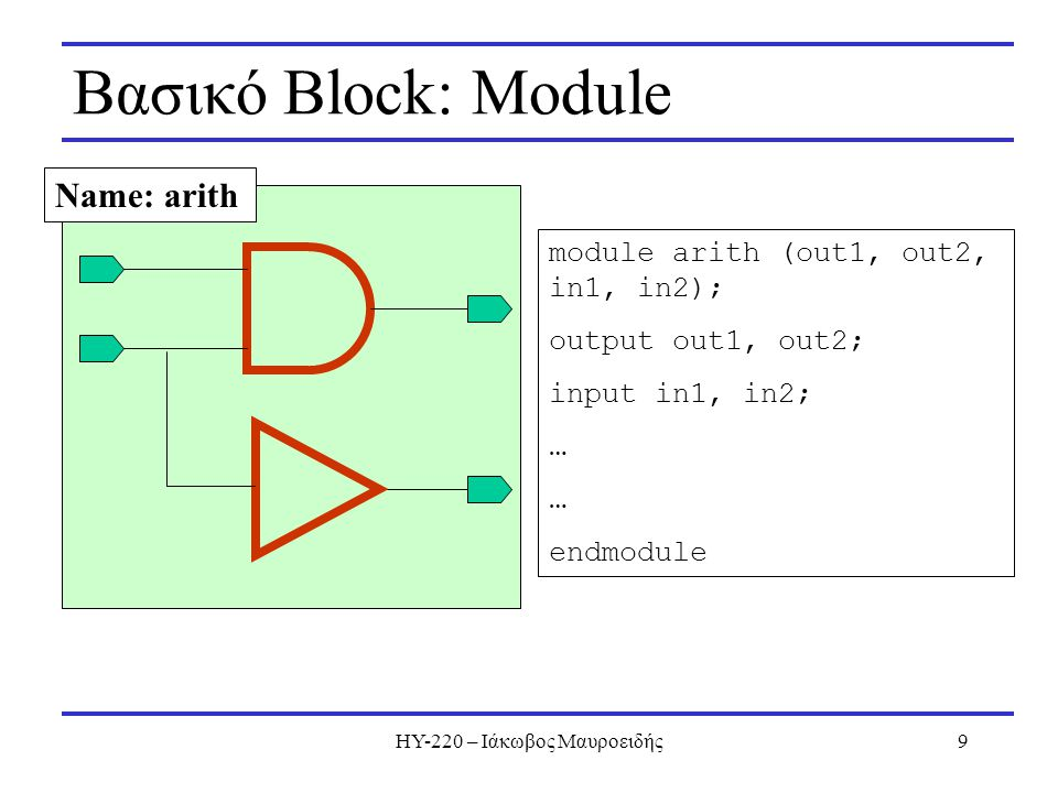 ΗΥ-220 – Ιάκωβος Μαυροειδής9 Βασικό Block: Module Name: arith module arith (out1, out2, in1, in2); output out1, out2; input in1, in2; … endmodule