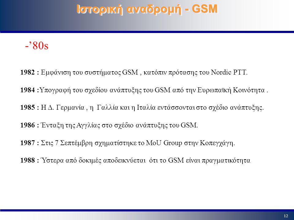 12 Ιστορική αναδρομή - GSM 1982 : Εμφάνιση του συστήματος GSM, κατόπιν πρότασης του Nordic PTT. 1984 :Υπογραφή του σχεδίου ανάπτυξης του GSM από την Ε