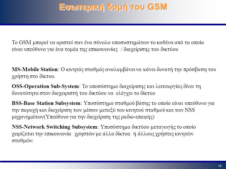 18 Εσωτερική δομή του GSM Το GSM μπορεί να οριστεί σαν ένα σύνολο υποσυστημάτων το καθένα από τα οποία είναι υπεύθυνο για ένα τομέα της επικοινωνίας /