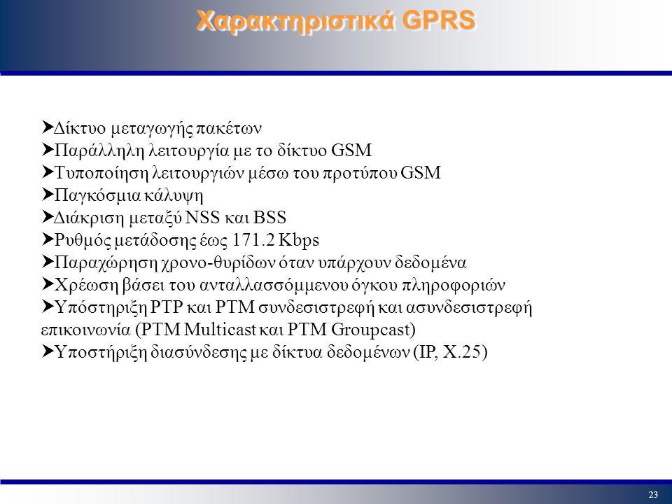 23 Χαρακτηριστικά GPRS  Δίκτυο μεταγωγής πακέτων  Παράλληλη λειτουργία με το δίκτυο GSM  Τυποποίηση λειτουργιών μέσω του προτύπου GSM  Παγκόσμια κ