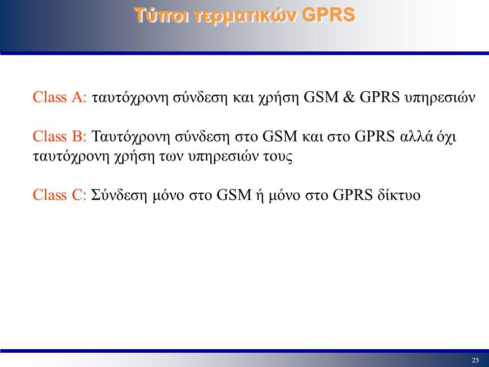 25 Τύποι τερματικών GPRS Class A: ταυτόχρονη σύνδεση και χρήση GSM & GPRS υπηρεσιών Class B: Ταυτόχρονη σύνδεση στο GSM και στο GPRS αλλά όχι ταυτόχρο