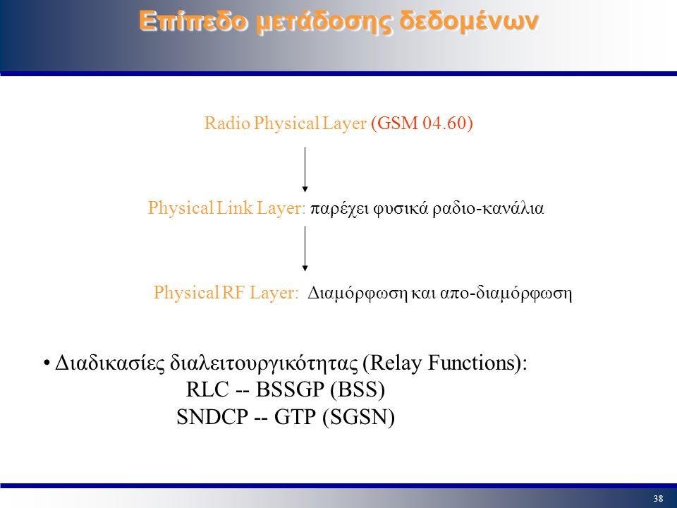 38 Επίπεδο μετάδοσης δεδομένων Radio Physical Layer (GSM 04.60) Physical Link Layer: παρέχει φυσικά ραδιο-κανάλια Physical RF Layer: Διαμόρφωση και απ