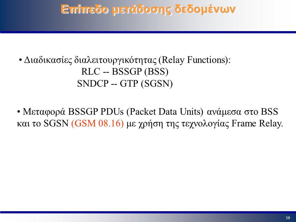 39 Επίπεδο μετάδοσης δεδομένων Διαδικασίες διαλειτουργικότητας (Relay Functions): RLC -- BSSGP (BSS) SNDCP -- GTP (SGSN) Μεταφορά BSSGP PDUs (Packet D
