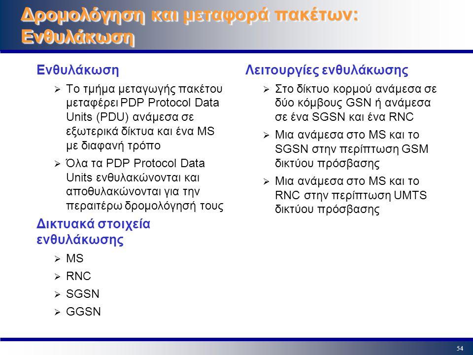 54 Δρομολόγηση και μεταφορά πακέτων: Ενθυλάκωση Ενθυλάκωση  Το τμήμα μεταγωγής πακέτου μεταφέρει PDP Protocol Data Units (PDU) ανάμεσα σε εξωτερικά δ