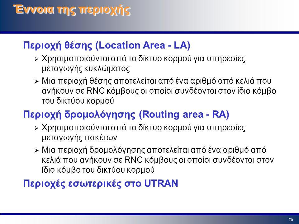 70 Έννοια της περιοχής Περιοχή θέσης (Location Area - LA)  Χρησιμοποιούνται από το δίκτυο κορμού για υπηρεσίες μεταγωγής κυκλώματος  Μια περιοχή θέσ
