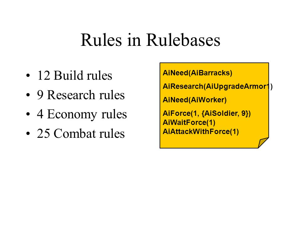 Rules in Rulebases 12 Build rules 9 Research rules 4 Economy rules 25 Combat rules AiNeed(AiBarracks) AiResearch(AiUpgradeArmor1) AiNeed(AiWorker) AiForce(1, {AiSoldier, 9}) AiWaitForce(1) AiAttackWithForce(1)