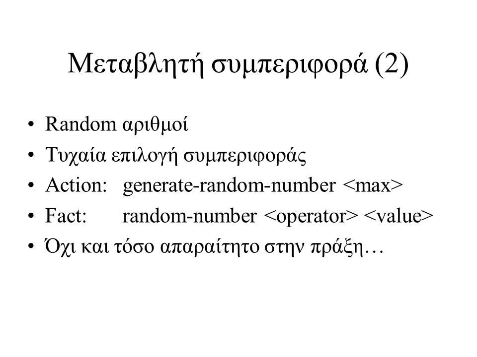 Μεταβλητή συμπεριφορά (2) Random αριθμοί Τυχαία επιλογή συμπεριφοράς Action: generate-random-number Fact: random-number Όχι και τόσο απαραίτητο στην πράξη…