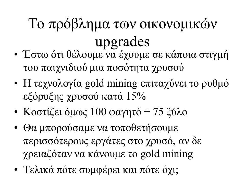 Υλικά και μονάδα μέτρησης Τις περισσότερες φορές χρειάζεται να συγκρίνουμε αξίες διαφορετικών υλικών 1 food = 1 wood = 1 gold = 1 stone ??.