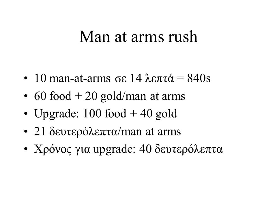 Man at arms rush Για men at arms: 700 food + 240 gold 1 mill + 1 lumber camp + 1 mining camp + 1 barracks + 8 houses = 795 wood Feudal age + loom: 500 food + 50 gold 28 villagers = 1400 food (τ=32) Συνολικά πρέπει να συλλεχθεί 2400 food 5 farms = 300 wood
