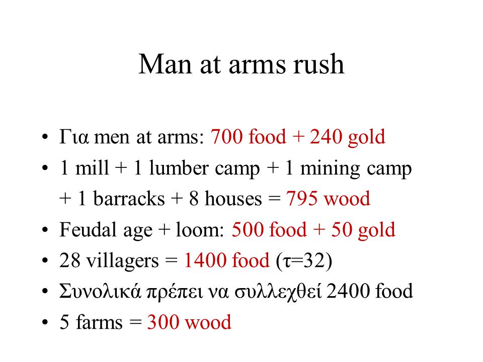 Man at arms rush Συνολικά: –2400 food * 3.5vs/food = 8400 vs –900 wood * 2.8vs/wood = 2520 vs –100 gold * 2.8vs/gold = 280 vs Άρα αθροιστικά: 11200 vs Feudal age με v=30 villagers Loom με κ=10 villagers Ρ=14000 vs