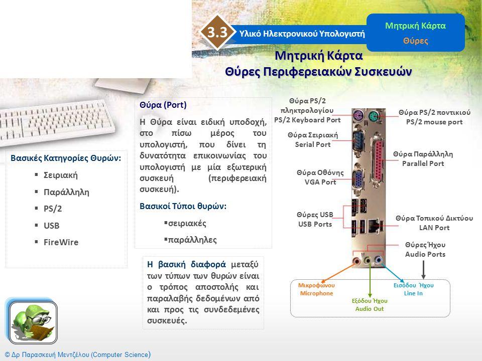 © Δρ Παρασκευή Μεντζέλου (Computer Science ) Μητρική Κάρτα Θύρες Περιφερειακών Συσκευών Υλικό Ηλεκτρονικού Υπολογιστή 3.3 Μητρική Κάρτα Θύρες Θύρα PS/