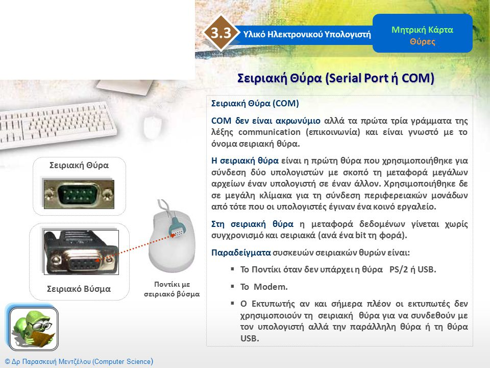 © Δρ Παρασκευή Μεντζέλου (Computer Science ) Σειριακή Θύρα (Serial Port ή COM) Υλικό Ηλεκτρονικού Υπολογιστή 3.3 Μητρική Κάρτα Θύρες Σειριακή Θύρα (CO