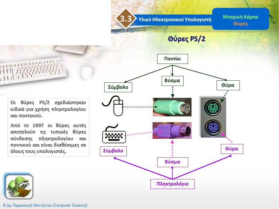 © Δρ Παρασκευή Μεντζέλου (Computer Science ) Θύρες PS/2 Υλικό Ηλεκτρονικού Υπολογιστή 3.3 Μητρική Κάρτα Θύρες Οι θύρες PS/2 σχεδιάστηκαν ειδικά για χρ