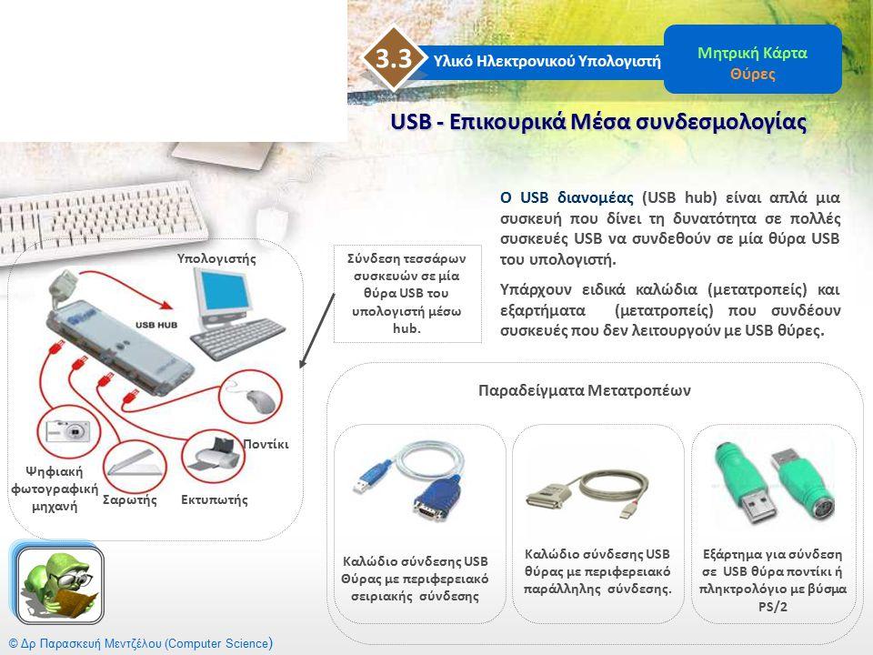 © Δρ Παρασκευή Μεντζέλου (Computer Science ) USB - Επικουρικά Μέσα συνδεσμολογίας Υλικό Ηλεκτρονικού Υπολογιστή 3.3 Μητρική Κάρτα Θύρες Ο USB διανομέα