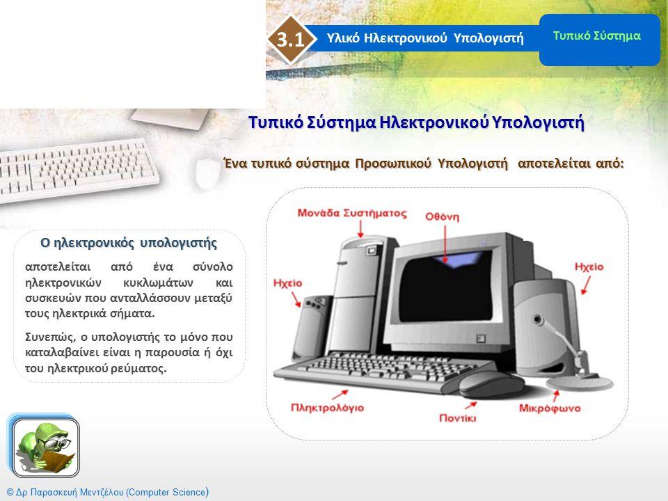 Βασικά Στοιχεία Ηλεκτρονικού Υπολογιστή © Δρ Παρασκευή Μεντζέλου (Computer Science ) Ένας ηλεκτρονικός υπολογιστής για να λειτουργήσει πρέπει να περιέχει απαραιτήτως: 1.Μητρική Κάρτα (Motherboard) 2.Σκληρό Δίσκο (Hard Drive ) 3.Επεξεργαστή (Processor) 4.Μνήμη Τυχαίας Προσπέλασης (Random Access Memory -RAM ) 5.Μνήμη Μόνον Ανάγνωσης (Read Only Memory – ROM) 6.Κάρτα οθόνης ( Monitor Card ) Ο ρόλος του καθενός είναι μοναδικός και απαραίτητος για την λειτουργία του υπολογιστή.