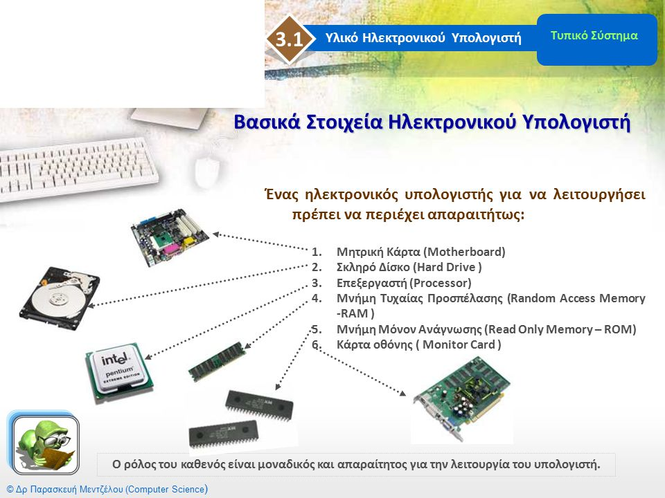 Υλικό Ηλεκτρονικού Υπολογιστή 3 Επαναληπτικές Ερωτήσεις Επαναληπτικές Ερωτήσεις 3 η ς Ενότητας  Τυπικό Σύστημα Η/Υ  Από τι αποτελείται  Ποια είναι τα βασικά στοιχεία του  Τι περιέχει η μονάδα ενός υπολογιστικού συστήματος  Μητρική Κάρτα  Τι είναι  Θύρα  Τι είναι  βασικοί τύποι  Κατηγορίες  Υποδοχές Επέκτασης  Ποιος είναι ο ρόλος τους  Ποιες είναι οι κοινές κάρτες σε όλους τους Η/Υ  Επεξεργαστής ή Κεντρική Μονάδα Επεξεργασίας  Περιγραφή  Από τι χαρακτηρίζεται  Ορισμός επεξεργαστή  Από τι αποτελείται (ονομαστικά)  Τι είναι η κρυφή μνήμη και ποιος ο σκοπός της  Τι είναι οι καταχωρητές και σε ποιες κατηγορίες χωρίζονται  Περιγραφή λειτουργίας  Αρχές Λειτουργίας  Τι είναι οι Δίαυλοι επικοινωνίας, ποια η λειτουργία τους και ποιοι είναι οι τρεις τύποι αυτών  Τι είναι η Αριθμητική και Λογική Μονάδα  Τι είναι η Μονάδα Ελέγχου και από τι αποτελείται © Δρ Παρασκευή Μεντζέλου (Computer Science )