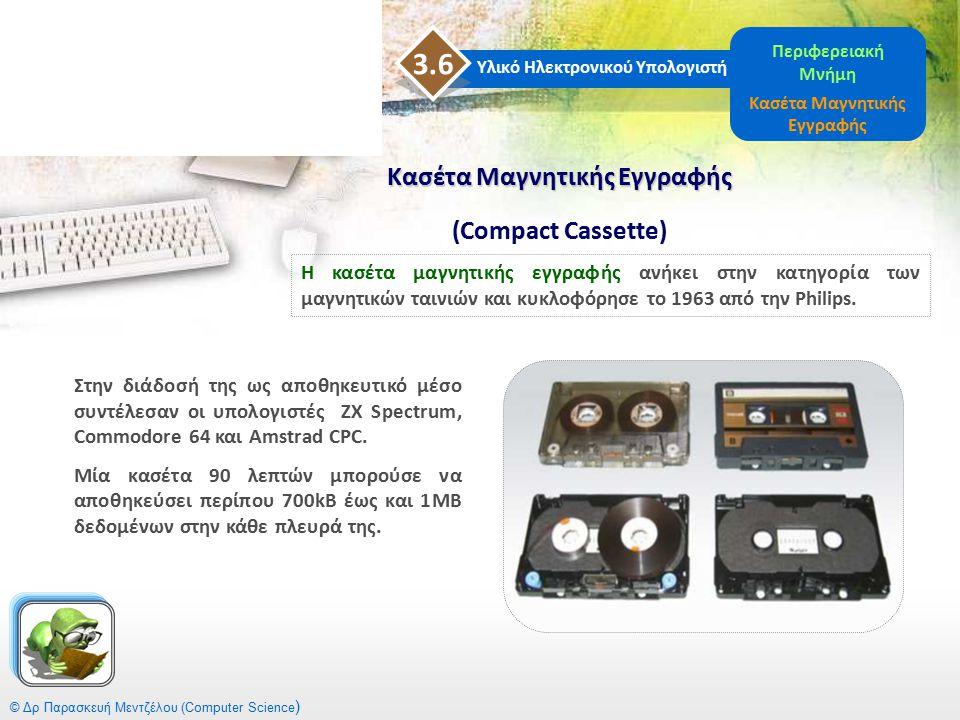 Κασέτα Μαγνητικής Εγγραφής Κασέτα Μαγνητικής Εγγραφής (Compact Cassette) © Δρ Παρασκευή Μεντζέλου (Computer Science ) Στην διάδοσή της ως αποθηκευτικό