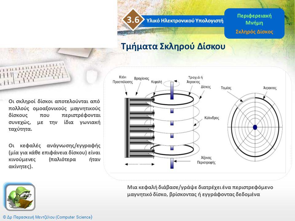 © Δρ Παρασκευή Μεντζέλου (Computer Science ) Μια κεφαλή διάβασε/γράψε διατρέχει ένα περιστρεφόμενο μαγνητικό δίσκο, βρίσκοντας ή εγγράφοντας δεδομένα